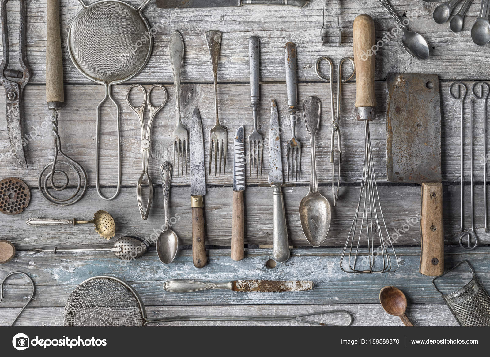 Vintage Kitchen Utensils Background Fork Kifes Spoons Stock