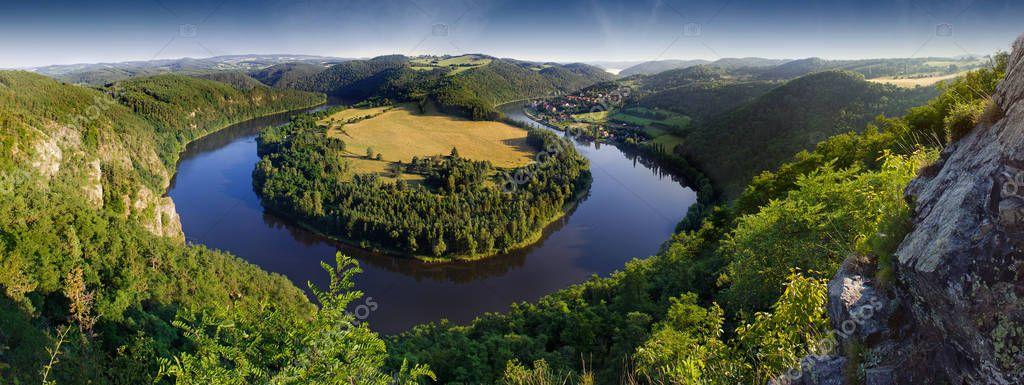 Czech landscape with a meandering river Vltava