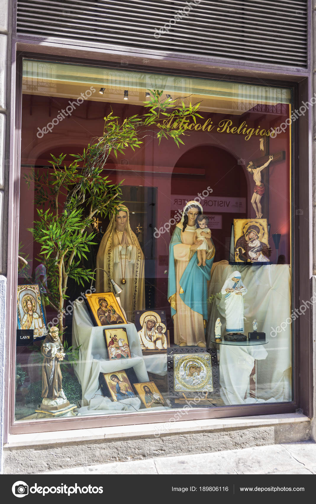 Store of Catholic religious items in Palermo, Sicily, Italy