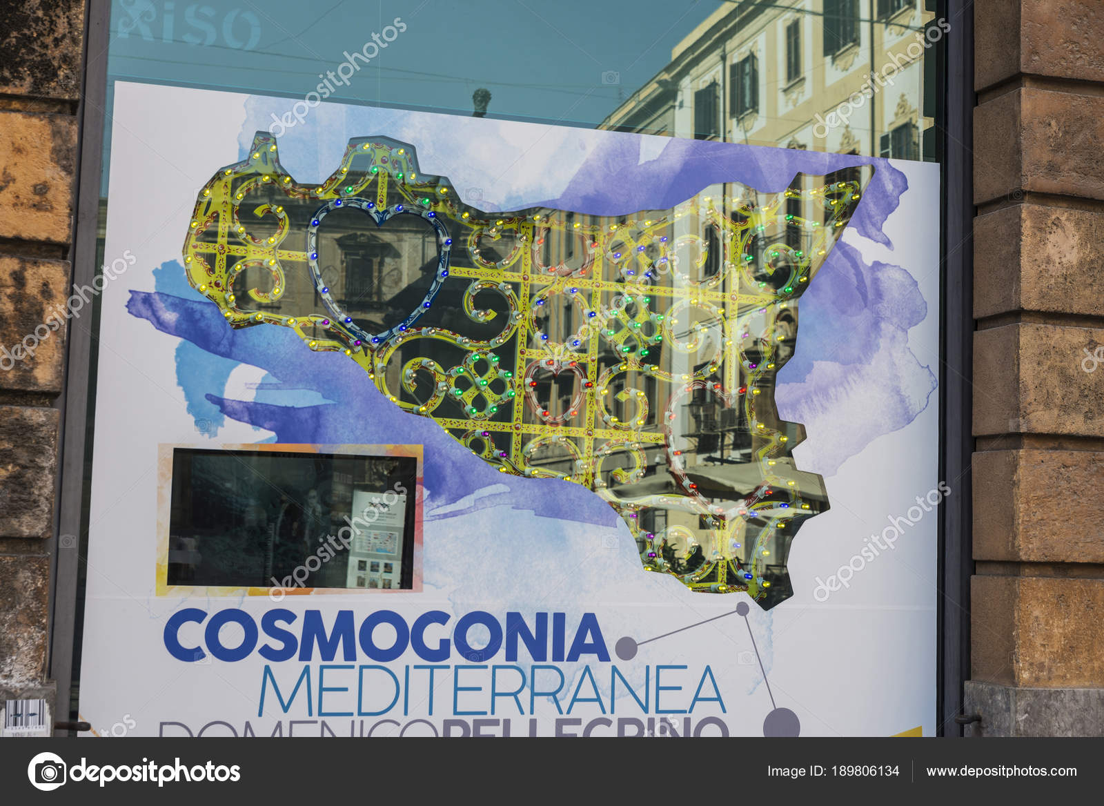 Map of Sicily in Palermo in Sicily, Italy – Stock Editorial Photo ...