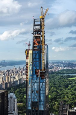 Construction of skyscrapers in Manhattan, New York City, USA
