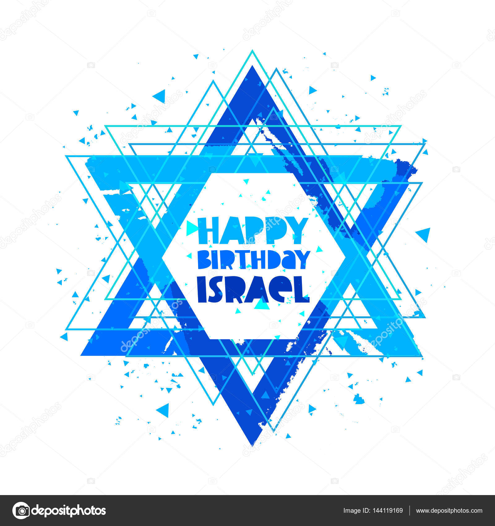 Happy Birthday Israel Independence Day Lettering Vector Illustration On White Background Star Of David Great Holiday Hand Drawn Gift Card