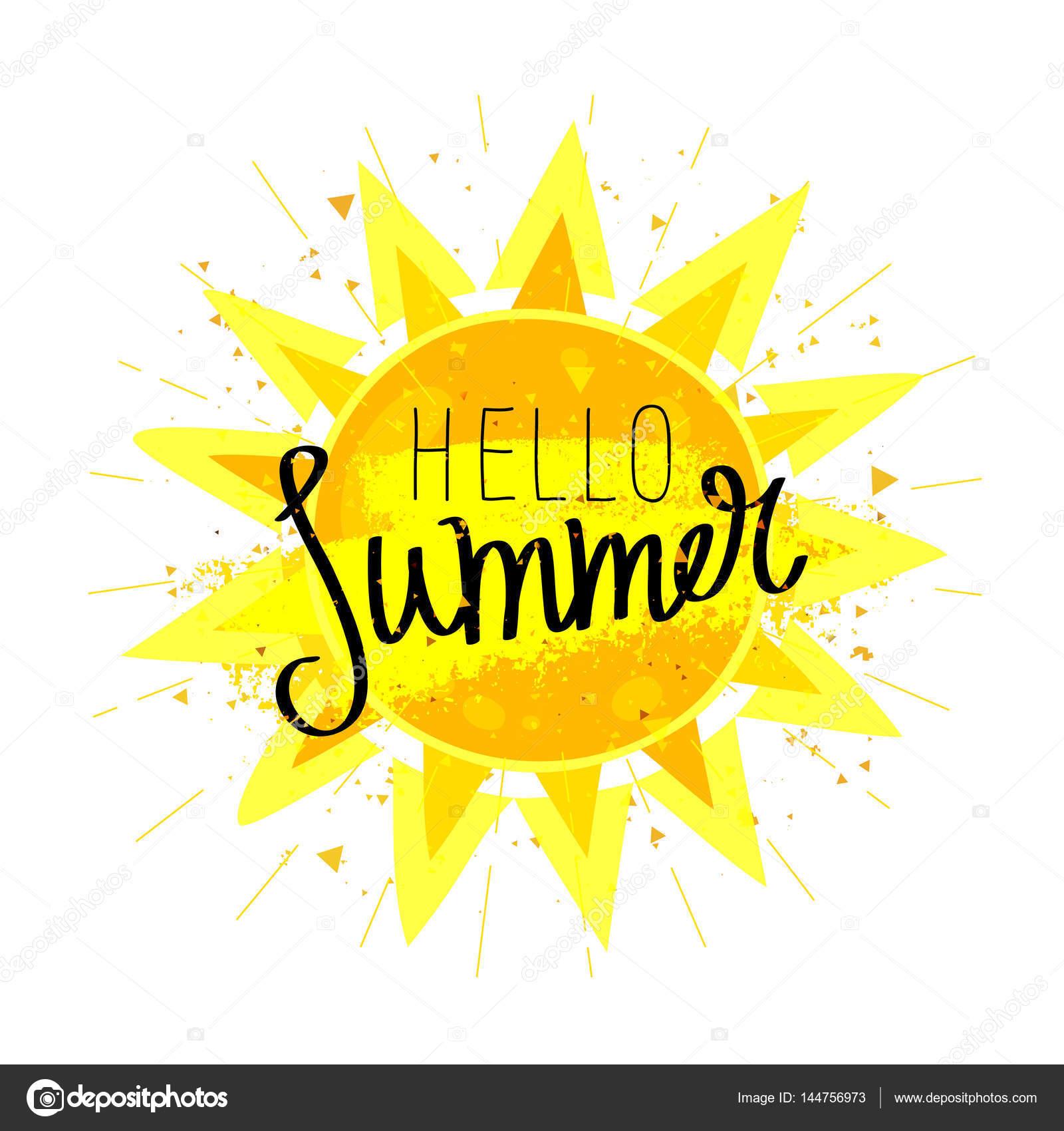 こんにちは夏。書道。太陽 — ストックベクター © chekat #144756973