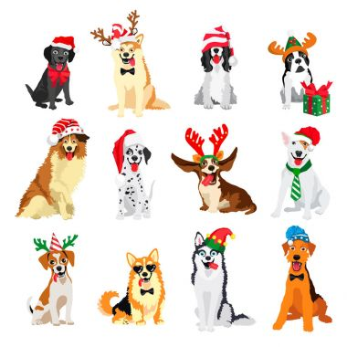 Set of New Year's dogs