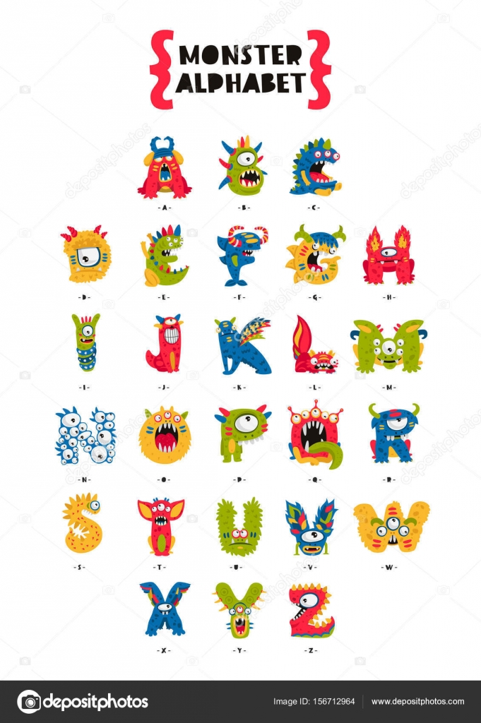 poster of monster alphabet stock vector chekat 156712964