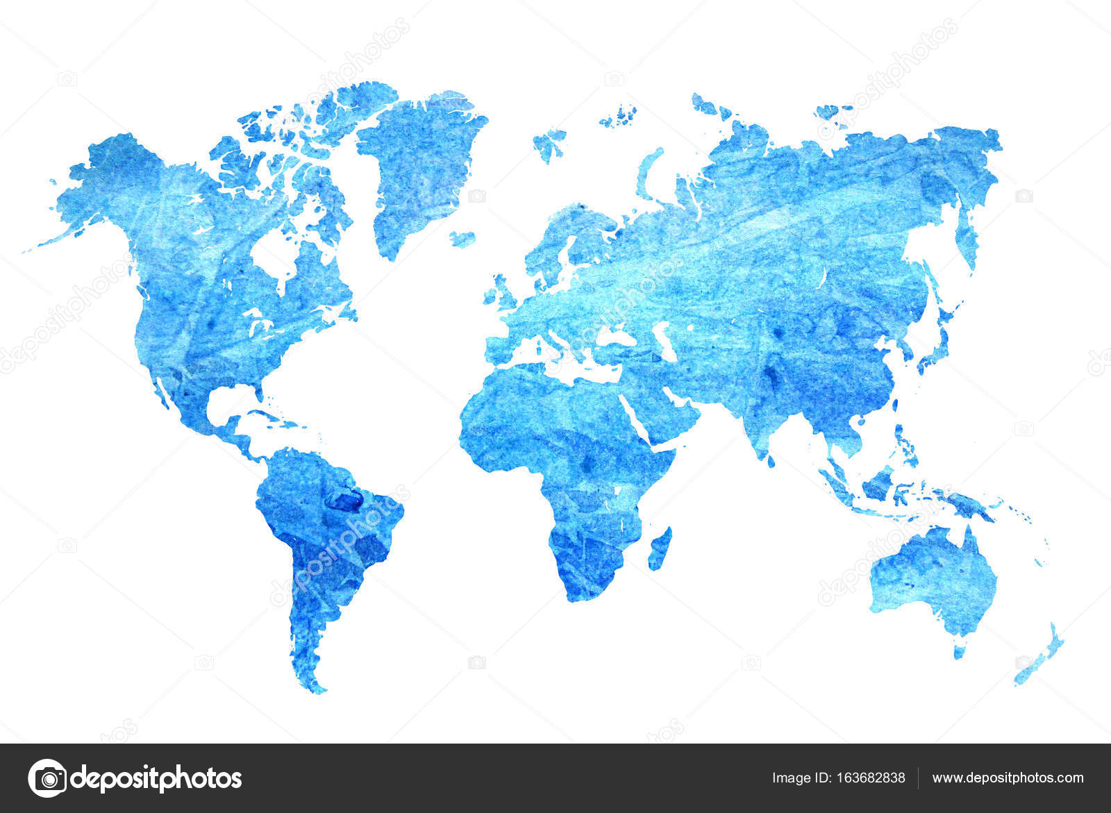 Watercolor blue map of the world — Stock Photo © chekat #163682838