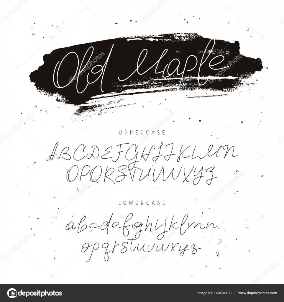 Nowoczesne Czcionki Alfabet Kaligrafia I Napis Grafika