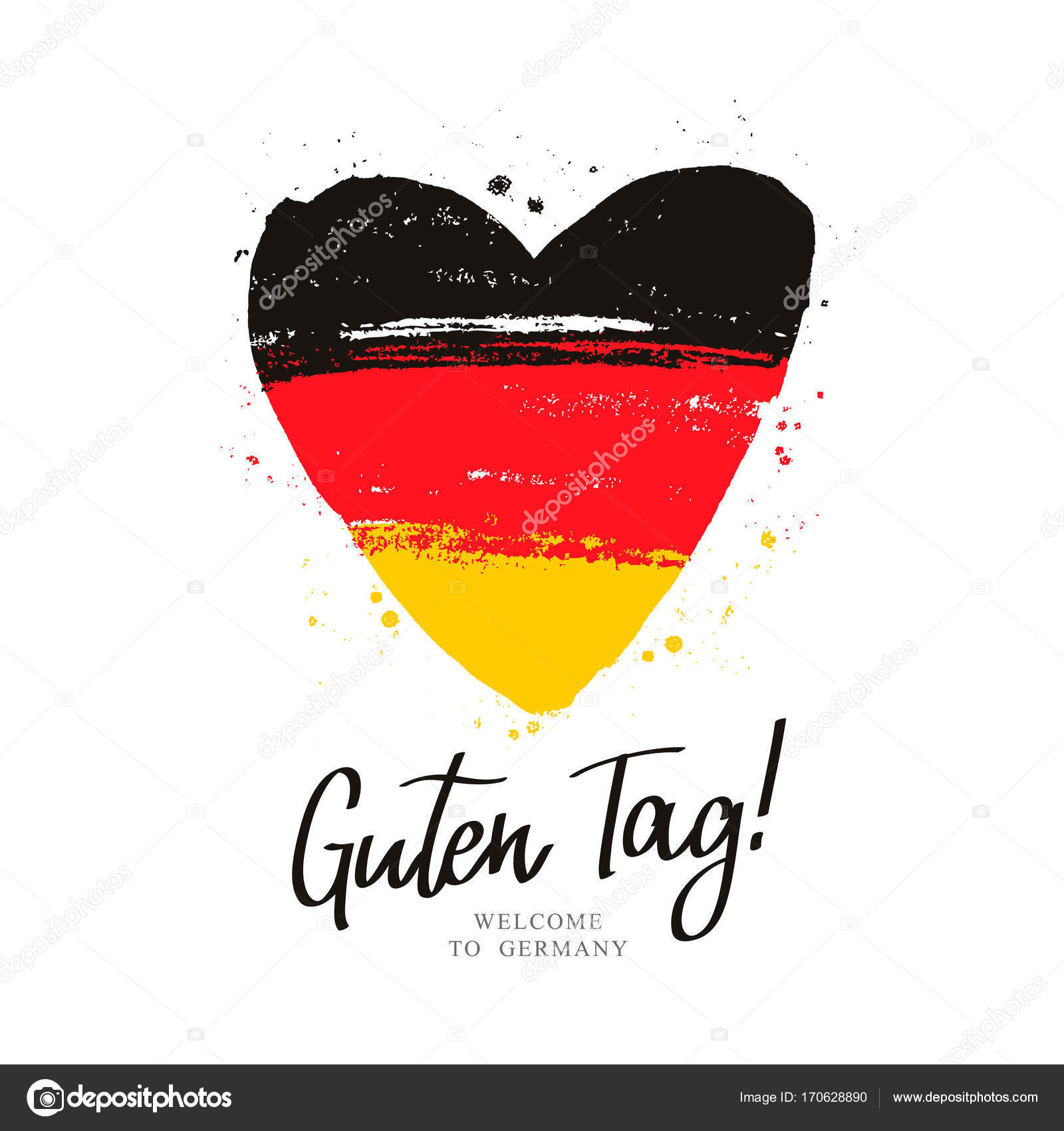 guten tag flagge von deutschland in ein gro es herz. Black Bedroom Furniture Sets. Home Design Ideas