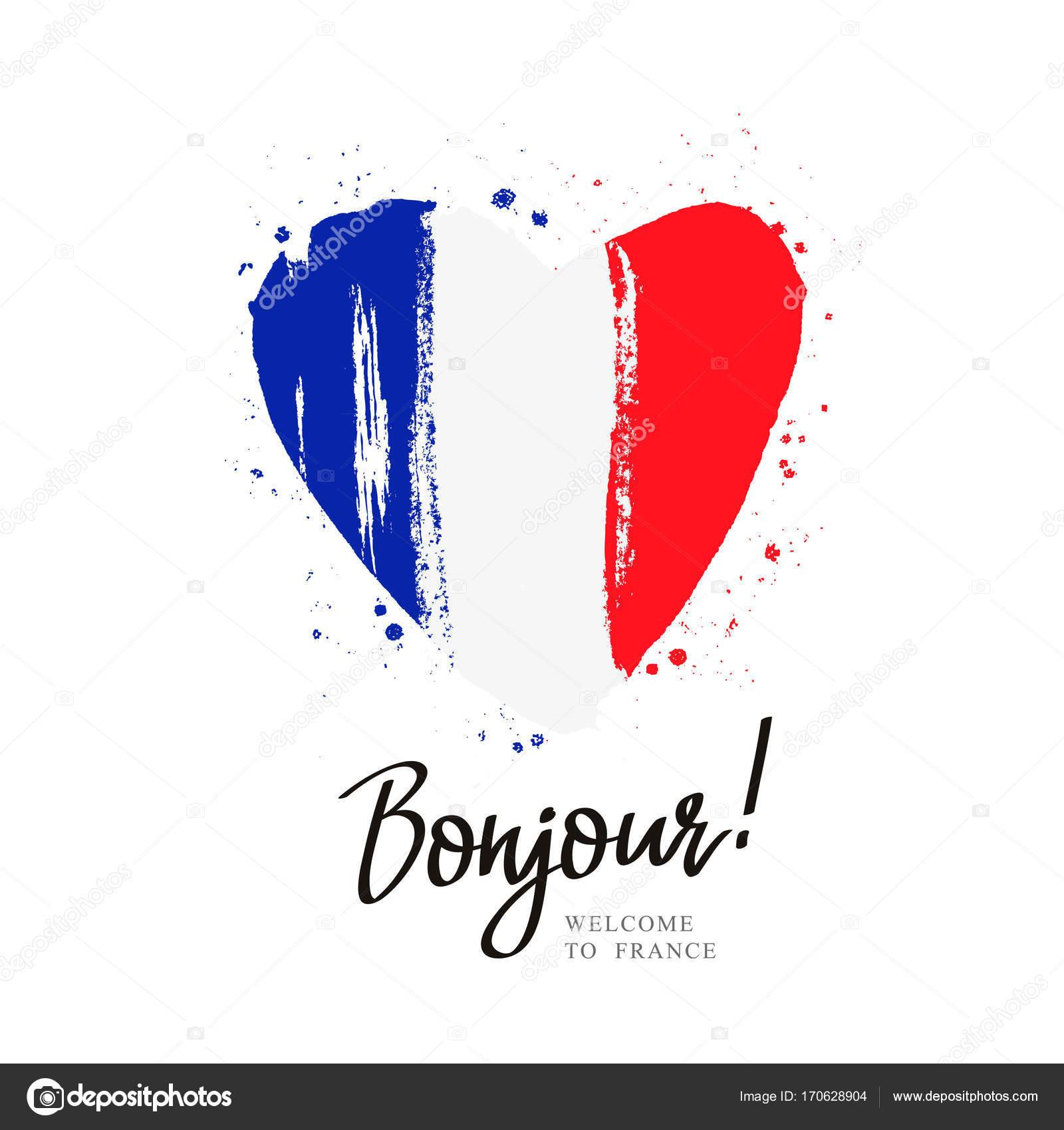 Bonjour флаг франции в большое сердце векторное