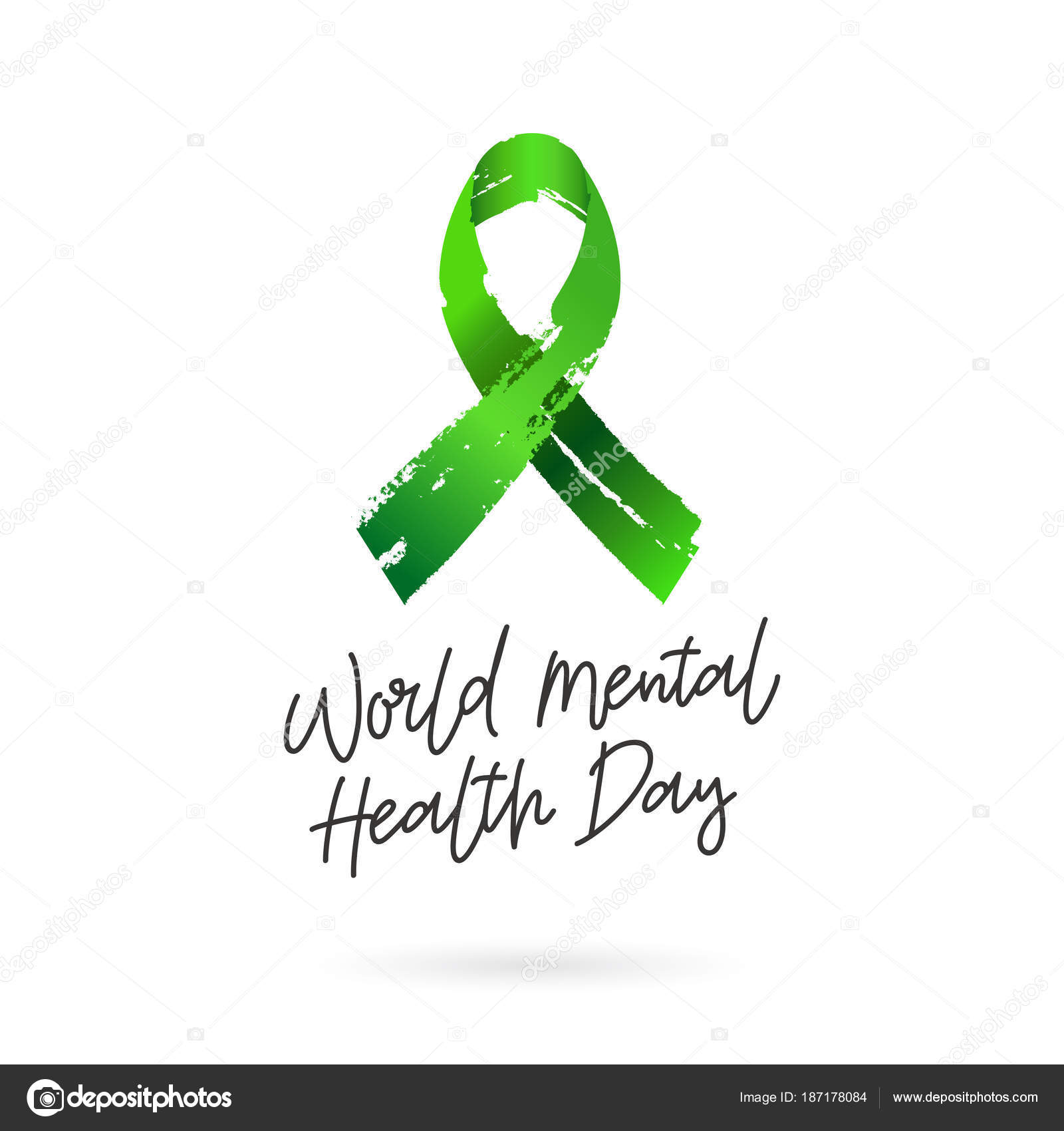 World Mental Health Day Green Ribbon From Brush Strokes Vector Illustration On White Background Gift Card Lettering And Calligraphy By Chekat