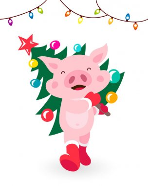 Funny pig carries a Christmas tree