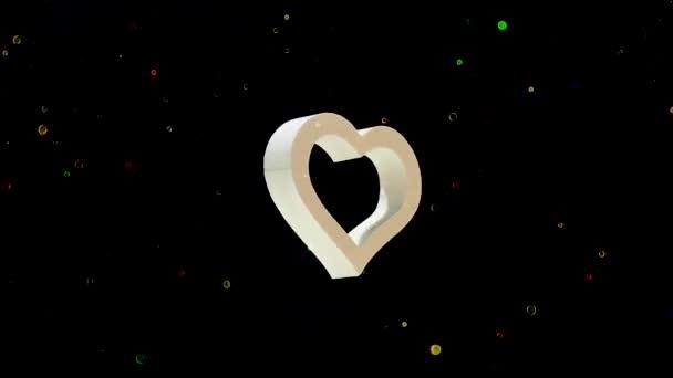 Obrovský rám bílého srdce se otáčí kolem své osy. Koncept na Valentýna 14. února. Abstraktní pozadí barevný lesklý zadek na černém pozadí.