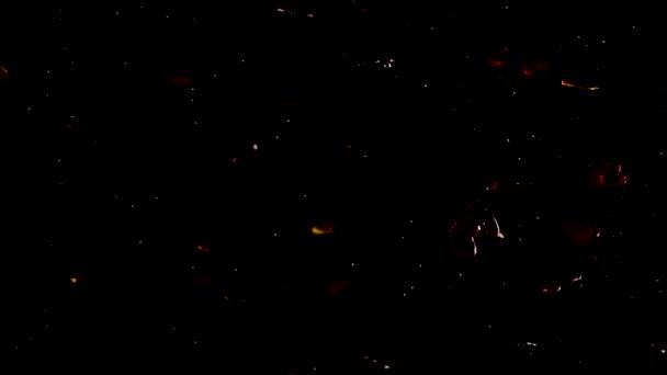 Rot und Gold flackernde Glitzerherzen auf schwarzem Sternenhintergrund. schöner romantischer Hintergrund.