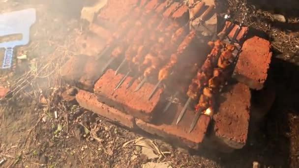 Húst sütni a nyársra tűzön. Kebab. Sertéshús, marhahús, csirke.