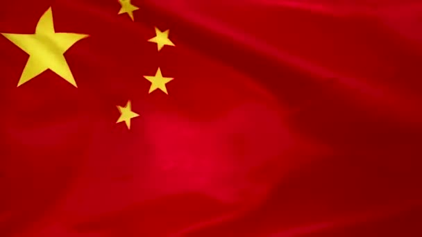 Flag of China waving in the wind close-up. The wind is blowing from right to left. Background for news, movies and more.
