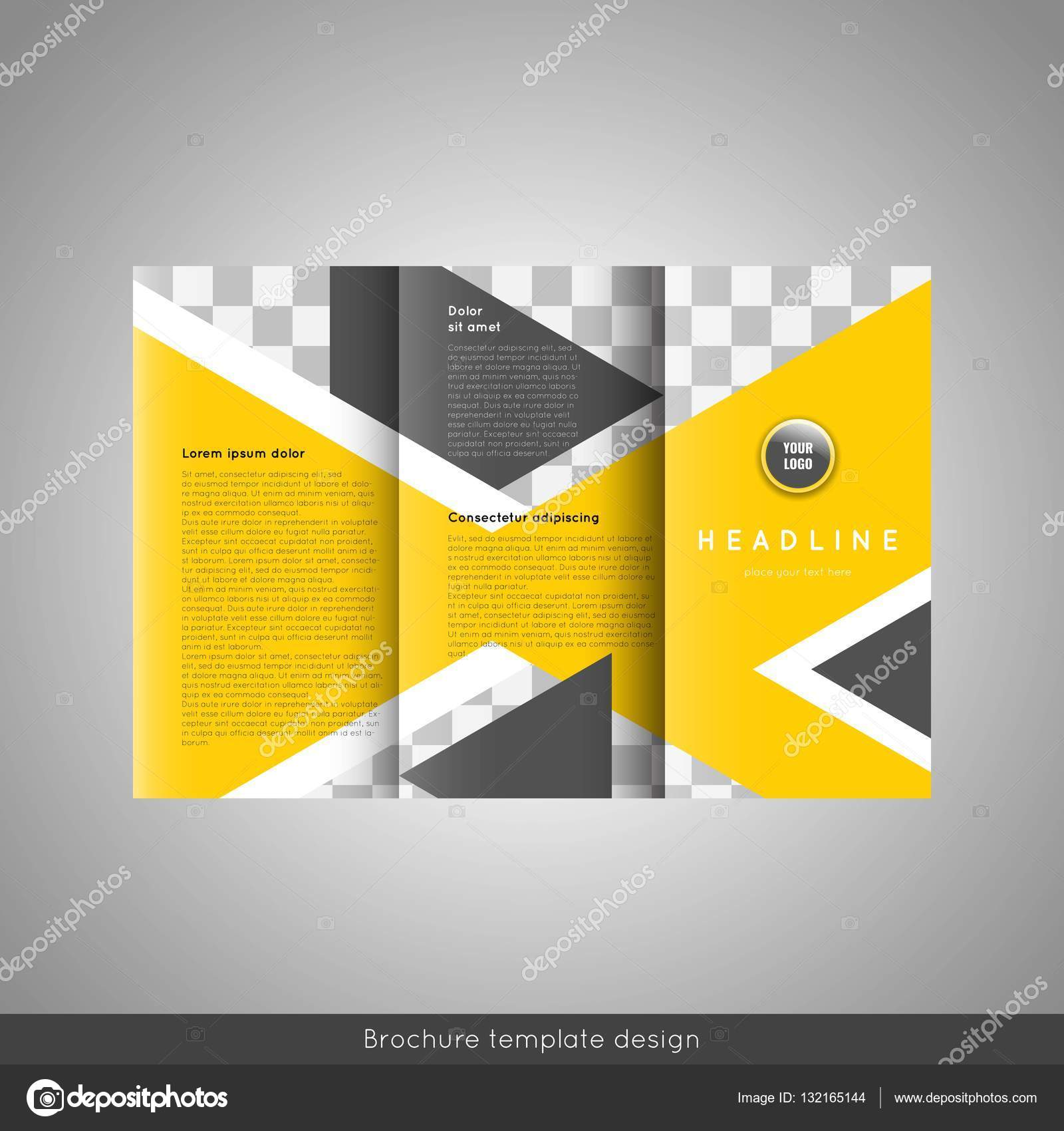 Business Trifold Brochure Template Design Wavy Lines Background And