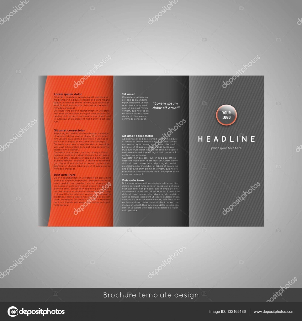 Business Trifold Brochure Template Design Wavy Lines Background - Tri brochure template