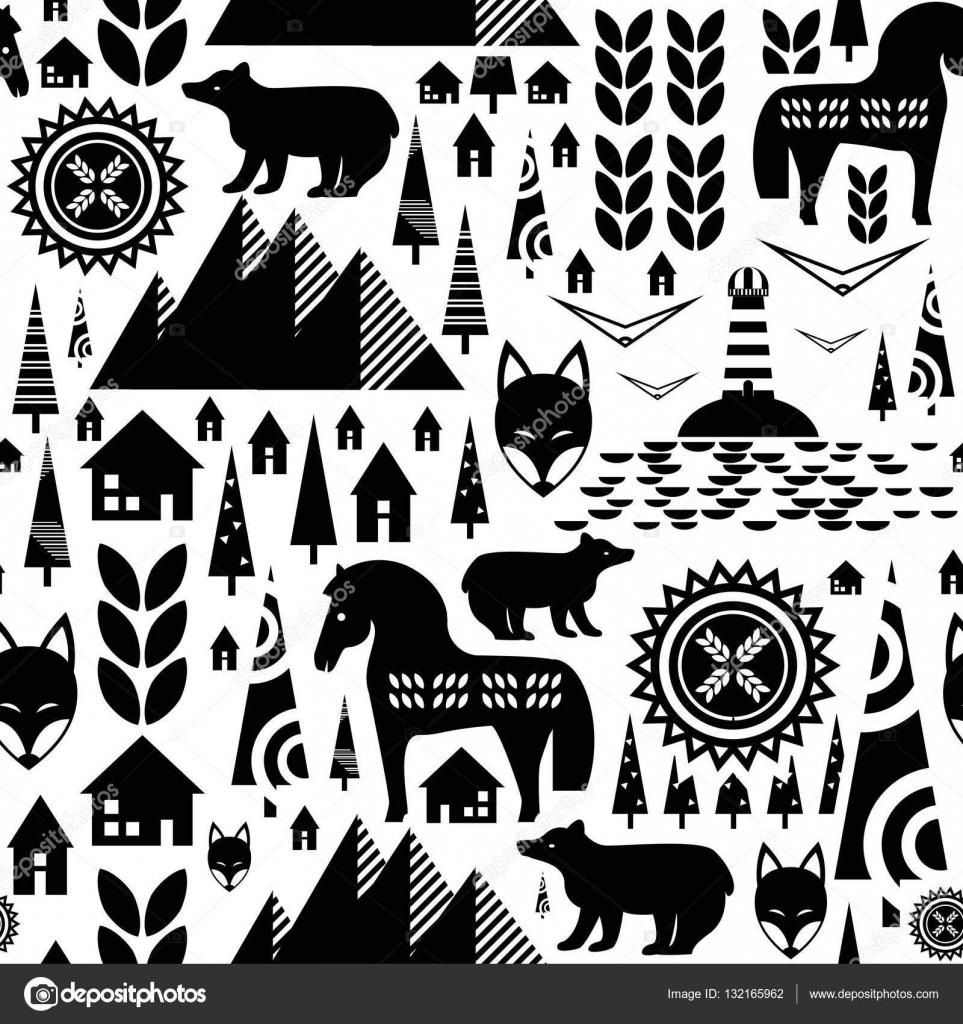 Escandinavo de patrones sin fisuras con montañas, casas de sueco ...