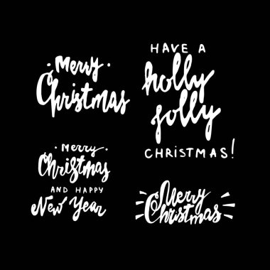 Merry Christmas and Happy New Year hand drawn lettering set. Elements for holiday greeting cards, invitations, banners and gifts