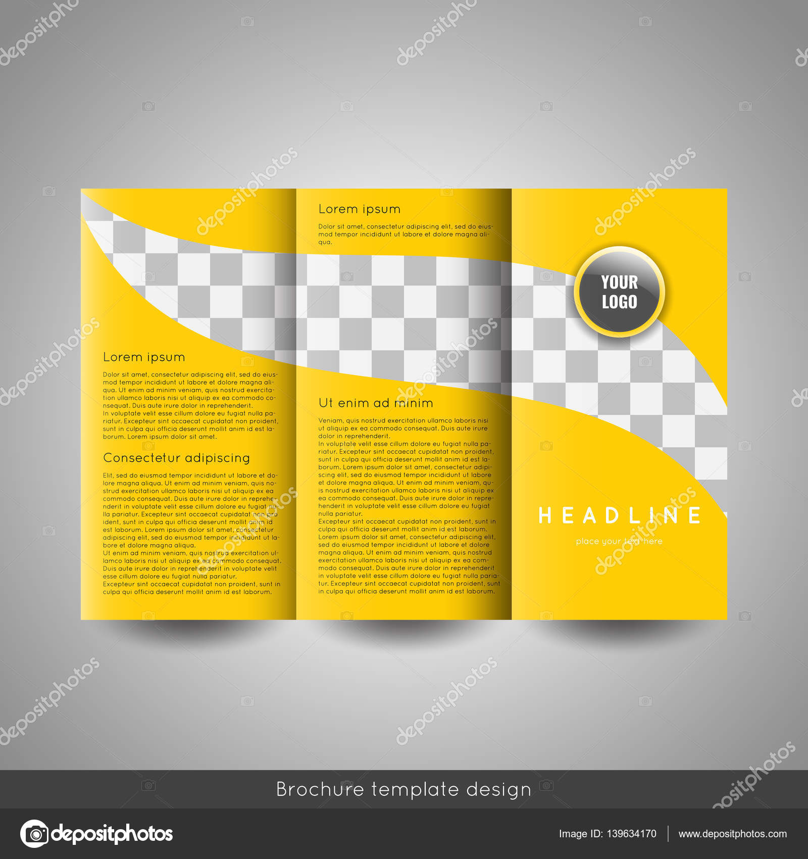 Corporate tri fold business brochure template with company logo and corporate tri fold business brochure template with company logo and place for photo stock vector vector by helga scandinavus wajeb Images