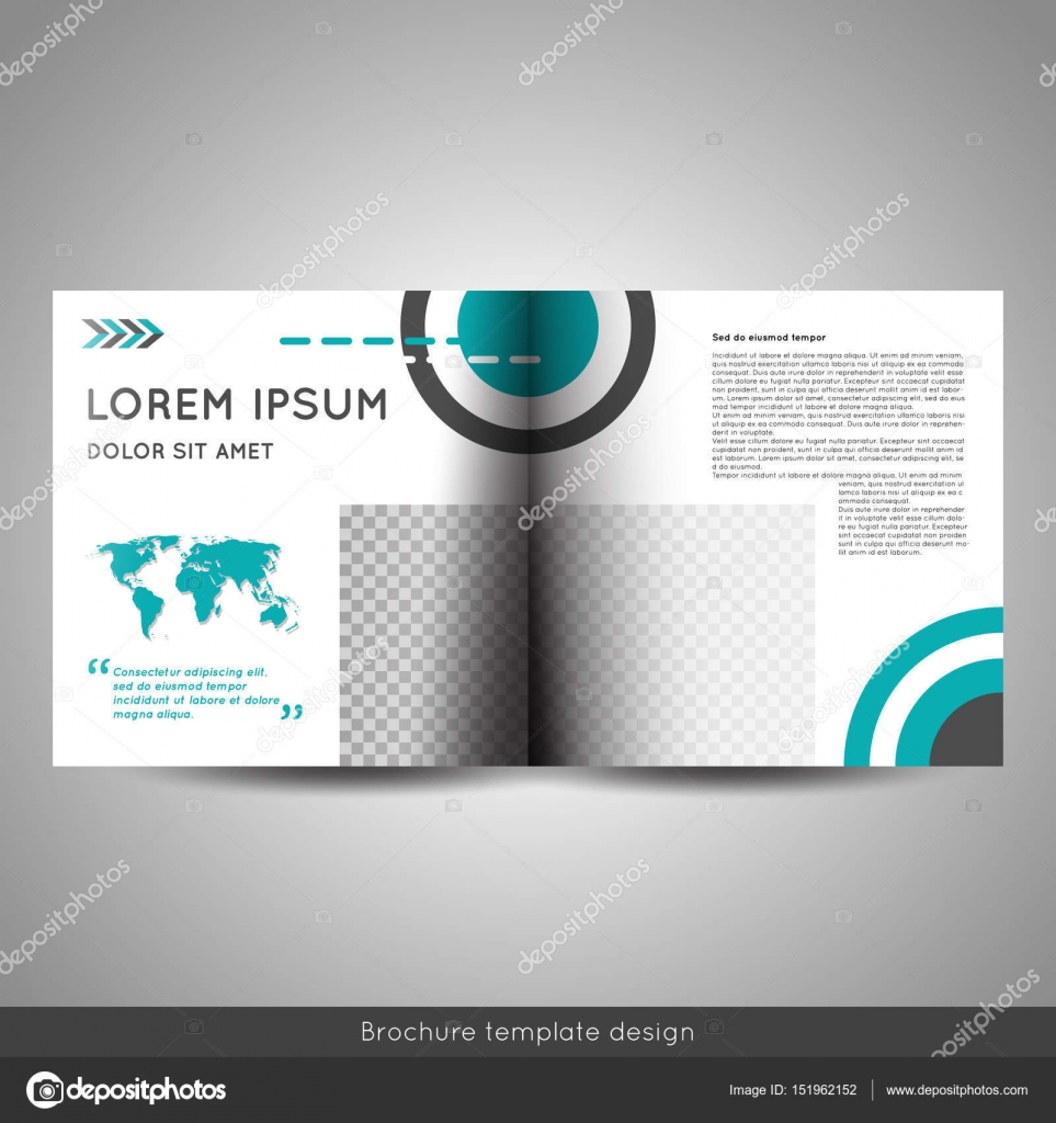 Scandinavian Style Business Or Educational Template Bi Fold Square Brochure Design Layout Flyer Booklet
