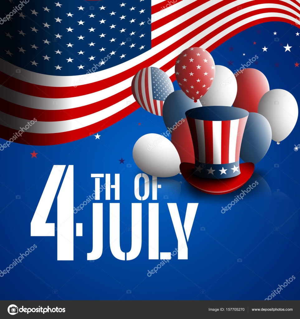 cacb63dc3b1 Independence day of the USA. Holiday background with patriotic american  signs - presidents hat