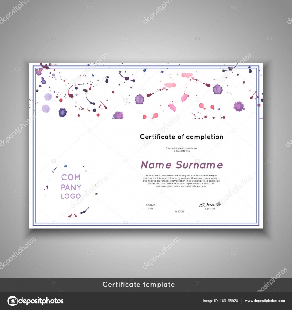 certificate of completion appreciation achievement graduation diploma or award with funny geometrical scandinavian pattern with lines stock vector