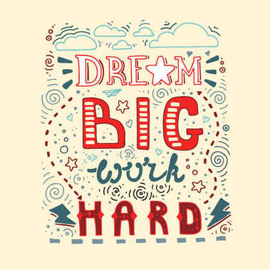 Dream Big Work Hard. Lettering poster with motivational and anspirational quote