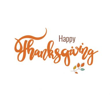 Happy Thanksgiving. Hand drawn lettering, isolated on white background. Can be used for holiday decoration design.