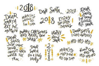 Set of Christmas and New Year hand drawn lettering quotes