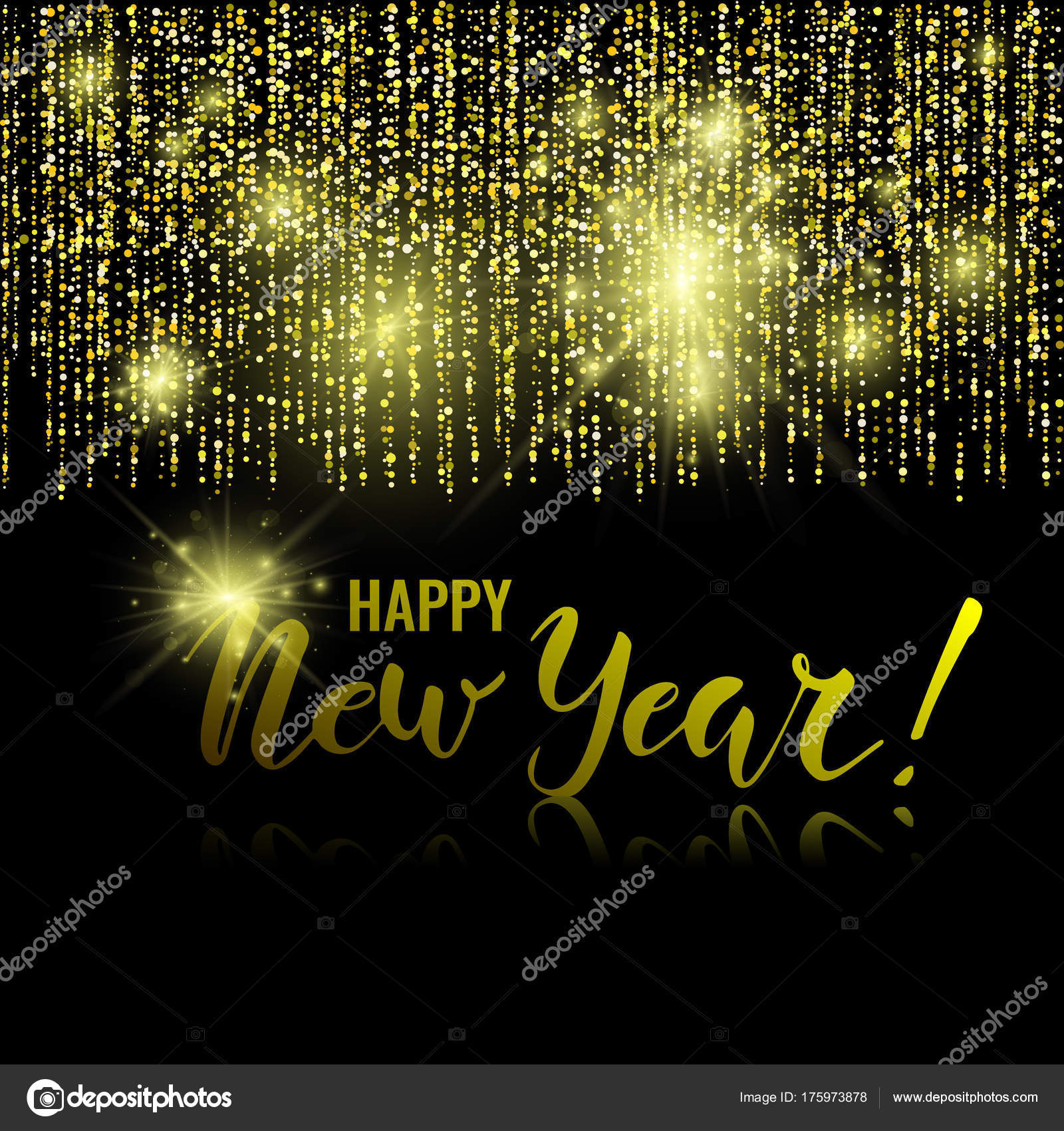 happy new year golden glitter background stock vector