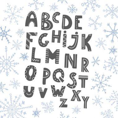 Hand drawn cartoon funny alphabet