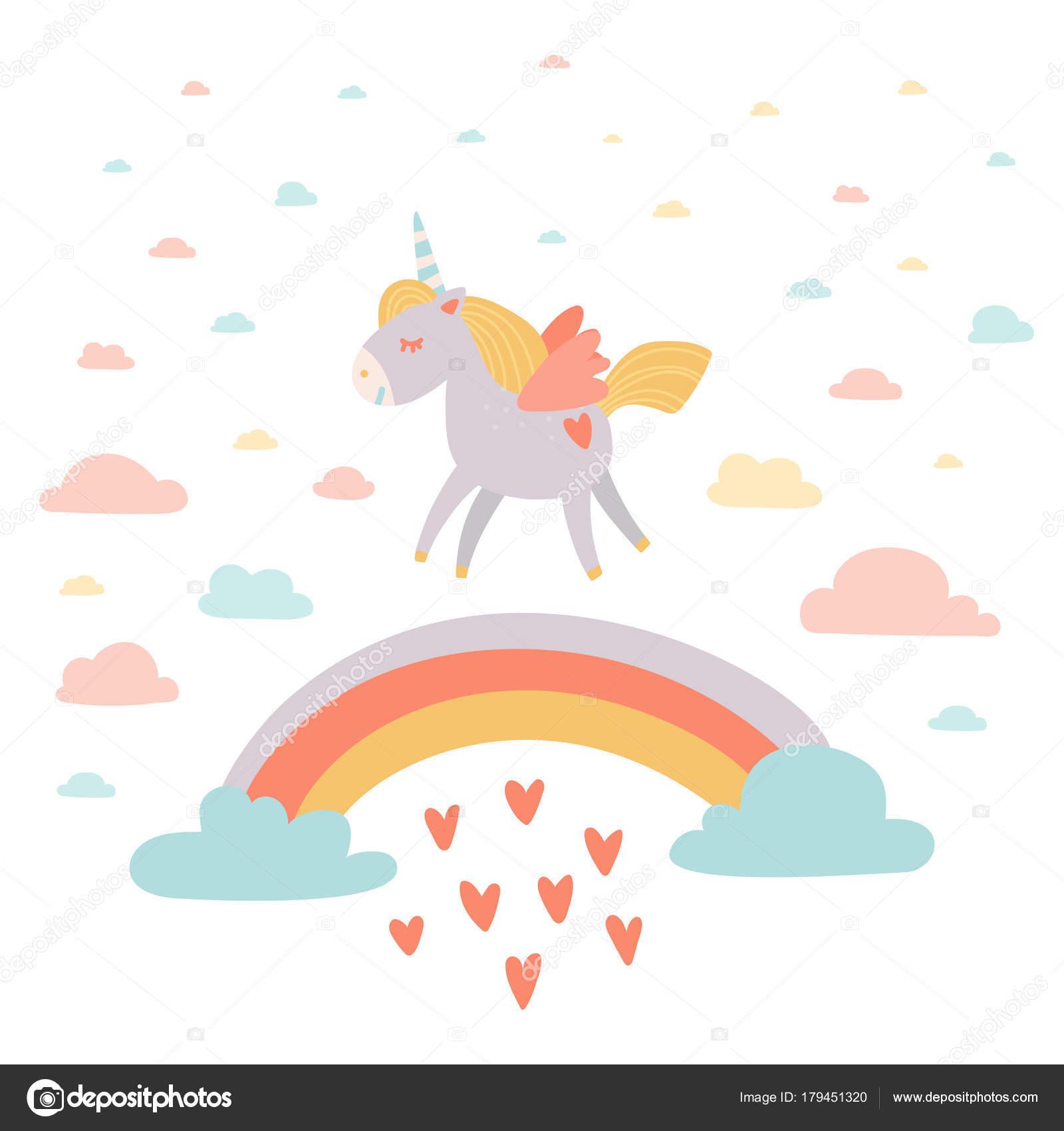 Ручной рисованный единорог за радугой с сердечным дождем ...