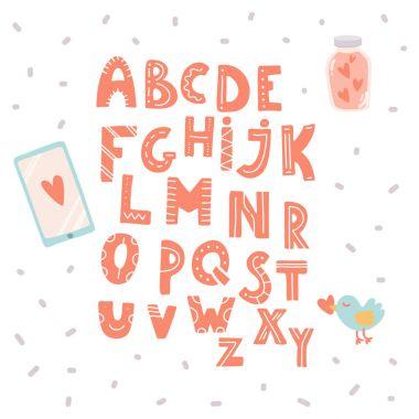 Hand drawn cute love alphabet