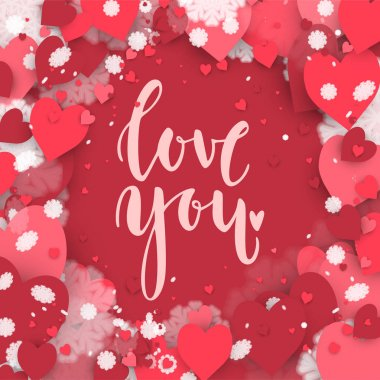 Love you. Hand drawn lettering on the hearts background. Romantic Valentines Day card