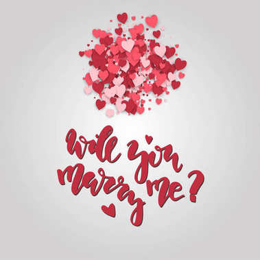 Will you marry me. Hand drawn lettering on the hearts background. Romantic Valentines Day card