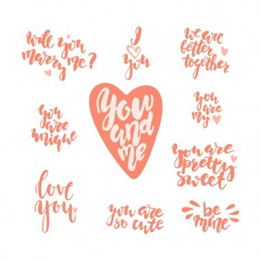 Hand drawn letterind love quotes to the St. Valentinnes Day