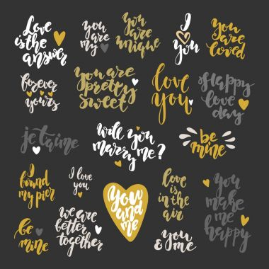Valentines day hand drawn lettering inspirational qoutes set