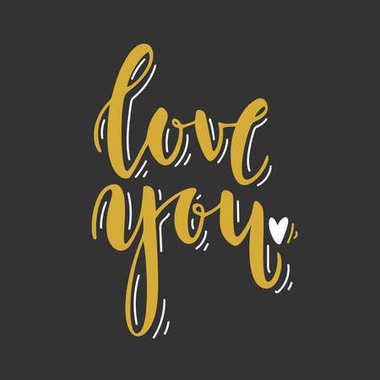 Love you. Hand drawn lettering. Romantic Valentines Day black ang gold card