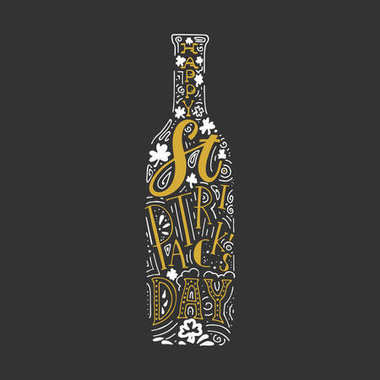 St. Patricks Day hand written lettering beer bottle poster