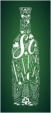 St. Patricks Day hand written lettering beer bottle poster