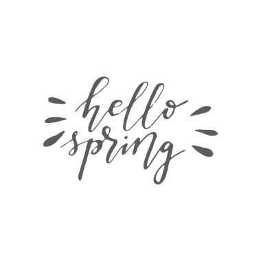 Hello Spring. Brush pen hand written lettering