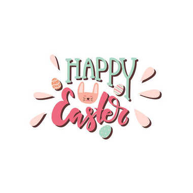 Happy Easter colorful hand written lettering