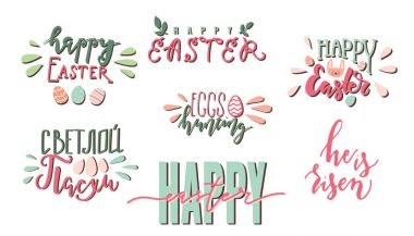 Happy Easter colorful hand written lettering. Set of stickers or tags