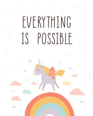 Everything is possible. Unicorn kids room poster. Inspirational and motivational