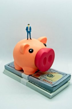 Piggy bank with a figure of a man in a suit standing on top it and on top of a wad of hundred dollar bills in a white background