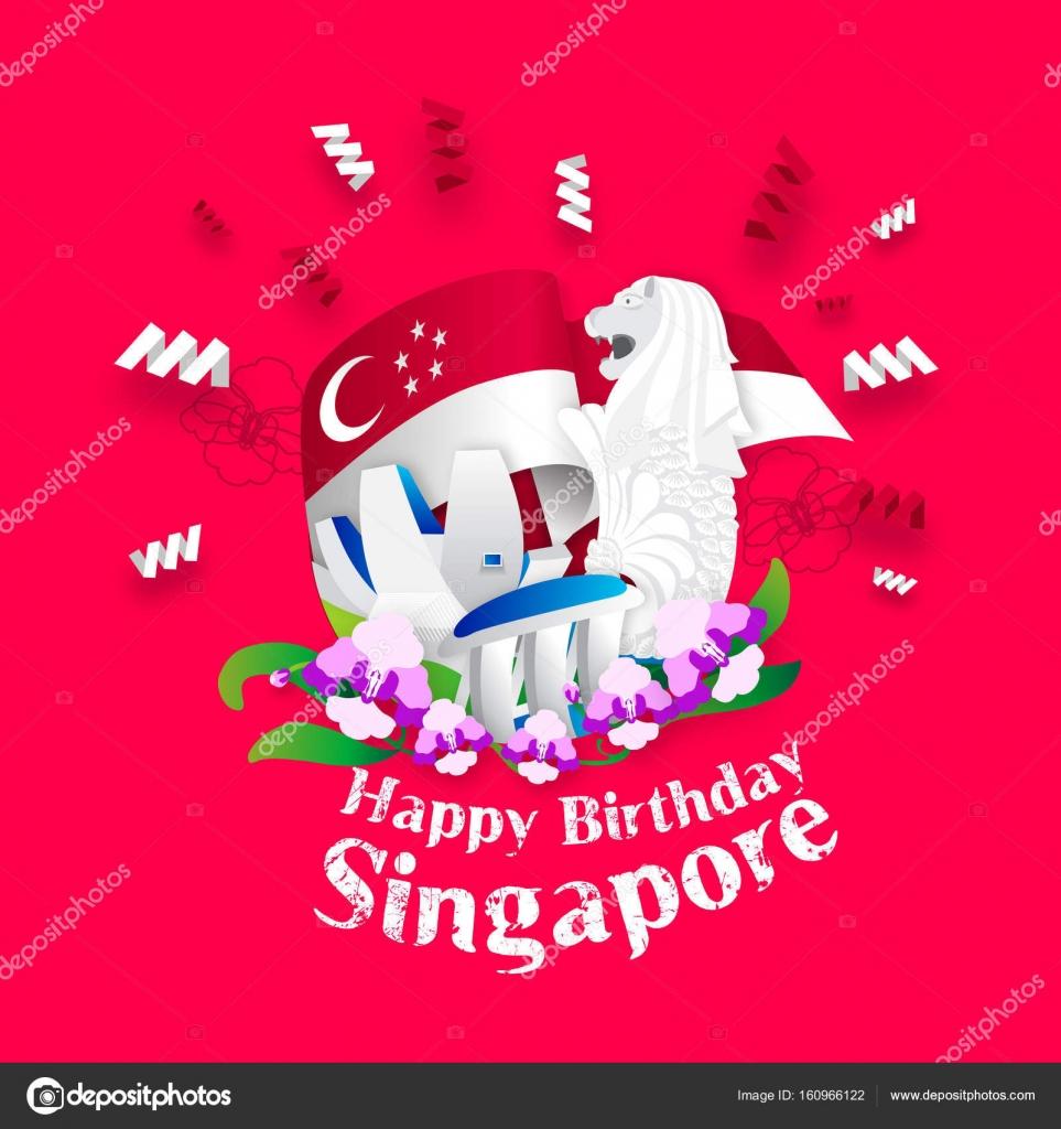 Alles Gute Zum Geburtstag-Singapur-Grußkarte