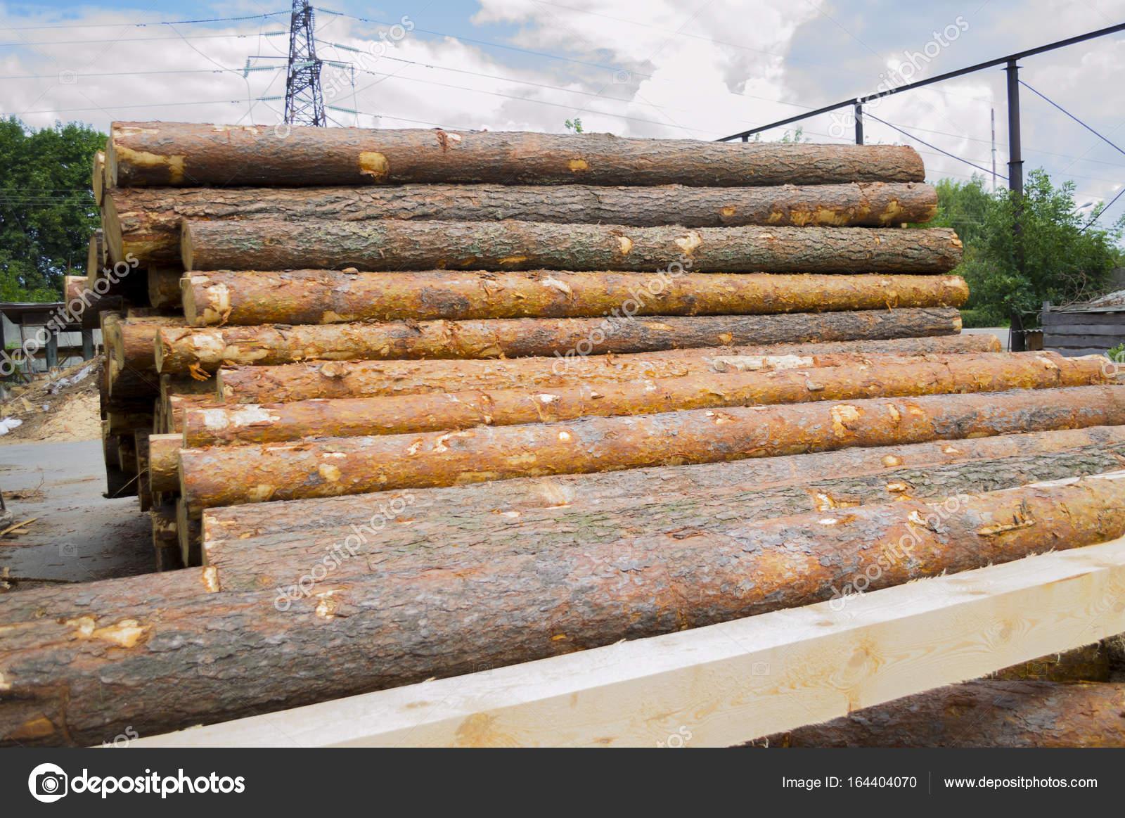 Pile De Bois Entrepôt De Grumes De Pin Pour Le Sciage De Poutres Planches De  Bois à Lu0027extérieur U2014 Image De Marina1408