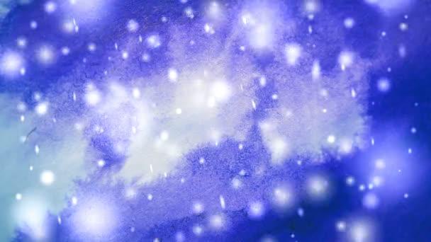 Abstraktní zimní fialové pozadí s sněhové vločky