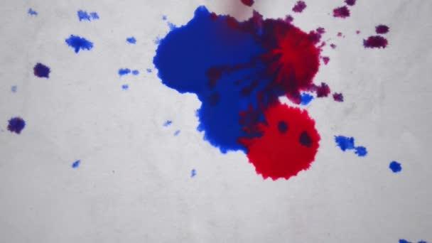 Kapky barvy z různých barev, kape na bílém papíře